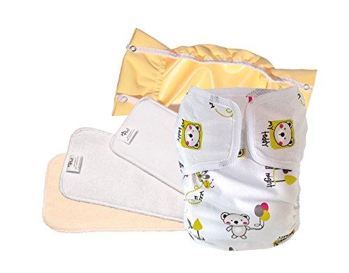 Pannolini lavabili ecologici PSS! GLAM - Pannolini in cotone con inserto estraibile - Kit da 3 pannolini fantasia Boschetto - Made in Italy