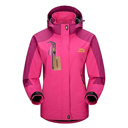 Lixada Windproof Jacket Ski Jacket Waterproof Outdoor Hiking Traveling Cycling Sports Detachable Hooded Raincoats for Women Medium Rose red