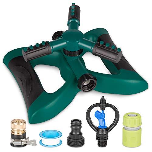 Kupton Garten Sprinkler System, 360° Rotation, Verstellbarer Sprinklerkopf, 3-Arm-Sprenger Rasensprinkler-Bewässerungssystem für große Flächen bis zu 3600 Quadratmeter