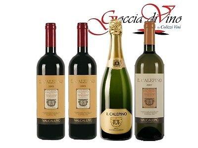 4 bottiglie - 2 VALCALEPIO ROSSO - 1 VALCALEPIO BIANCO - 1 CALEPINO ORO BRUT