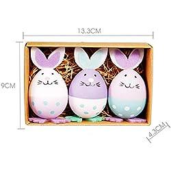 Juego de 3 Huevos de Pascua, Forma de Conejo, Juguetes de Plástico, para Colgar en El Cuarto de Niños O en El Cuarto de Niños Como Decoración
