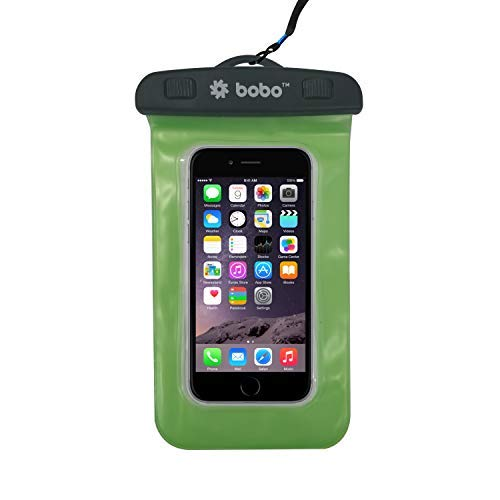 BOBO Universal Waterproof Pouch Cellphone Dry Bag Case for iPhone Xs Max XR XS X 8 7 6S 6 Plus, Samsung Galaxy S9 S8 + Note 8 6 5 4, Pixel 3 2 XL, Mi, Moto up to 6.5 inch - Green (Pack of 1)