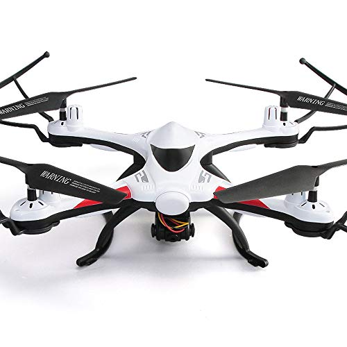 FPV Quadricottero Con HD Telecamera 720P, Potente Waterproof Mini Drone, WiFi Filmati dal Vivo, Funzione Headless, Sensore giroscopico, Flip 3D, GPS One Key Start-Landing, Buono Per Principianti,White
