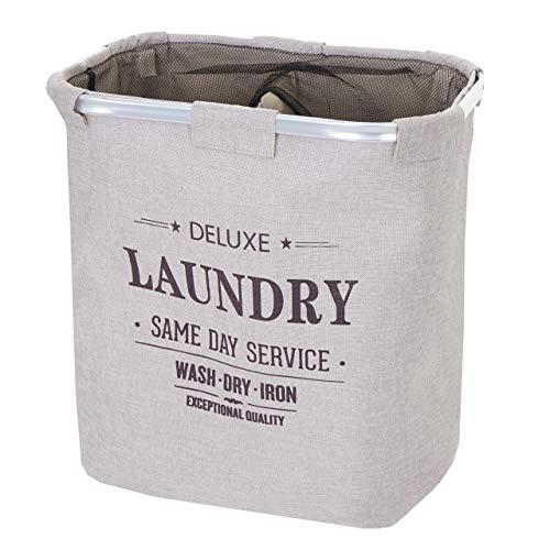 Mendler Wäschesammler HWC-C34, Laundry Wäschebox Wäschekorb Wäschebehälter mit Netz, 2 Fächer 56x49x30cm 82l ~ beige
