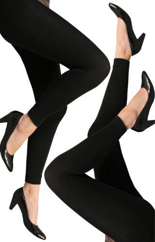 2er Pack Damen THERMO Leggings mit weichem warmen Innenfleece in schwarz