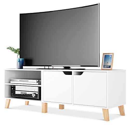 Homfa Mobile porta TV in Legno Armadio Moderno con 2 Ripiani e 2 Ante Supporto TV con 6...