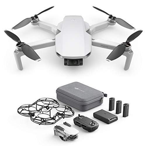 DJI Mavic Mini Combo, Drone Ultraleggero, Portatile, Durata Batteria 30 Minuti, Distanza 2 Km, Gimbal 3 Assi, 12MP, Video HD 2.7K, EU Plug, 3 Batterie