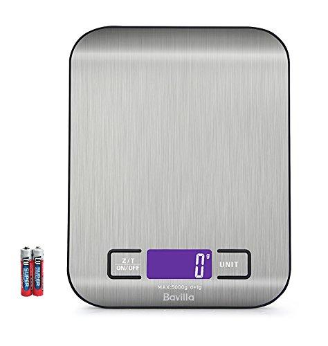 Digitale Küchenwaage,Professionelle Küchenwaage, Electronische Waage, Hohe Präzision auf bis zu 1g (5000g Maximalgewicht), Edelstahl Design, LCD-Display,Digitalwaage Inklusive Batterien