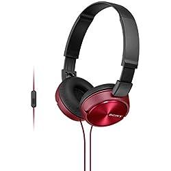 Sony MDR-ZX310APR - Auriculares de diadema cerrados (con micrófono, control remoto integrado), rojo