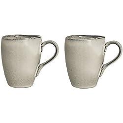 Broste Copenhagen - Henkelbecher, Mug, Becher, Tasse - Nordic Sand - Steingut - 2er Set