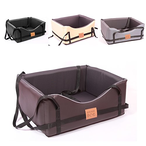 Hundeautositz Hundesitz Luxus Hundebett Kunst Leder Autokörbchen Autositz (XL ( 75x65 cm ), dunkelbraun-dunkelgrau)