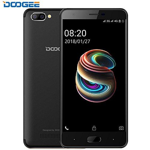 Smartphone 4G Pas Cher, DOOGEE X20L Telephone Portable Debloqué Double SIM - Écran 5 Pouce IPS - 16G ROM+2G RAM - MT6737 Quad Core - 5MP Double Caméra - Téléphone sans Forfait Android 7,0 - Noir
