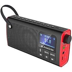 Avantree 3 in 1 FM Radio Portatili Altoparlanti Bluetooth SD Card Player Radiolina Radioline Portatile, Auto Scansione & Salvataggio, Display a LED, Batteria Ricaricabile - SP850