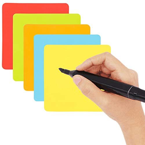 Carte magneti riscrivibili - 25 Pezzi - 7,5 x 7,5 cm - Mix (5 colori) - magnetiche foglietti adesivi...