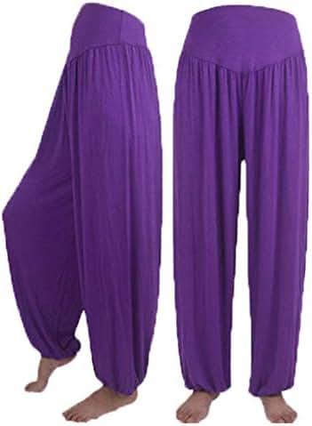 KIMODO® Damen Lose Elastische Haremshose Yoga Sport Tanz Pumphose Weiche Hose Einfarbig Freizeit Jogginghose Pants Große Größen
