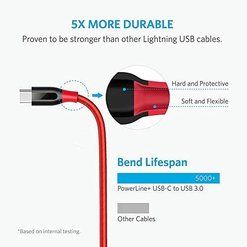 Anker [2 Pack Powerline+ 1,8m USB-C auf USB A 3.0 Kabel, Nylon Ladekabel für Typ-C Geräte, Kompatibel mit Galaxy S8, S8+, S9, MacBook, Sony XZ, Xiaomi 5 und weitere (Rot)