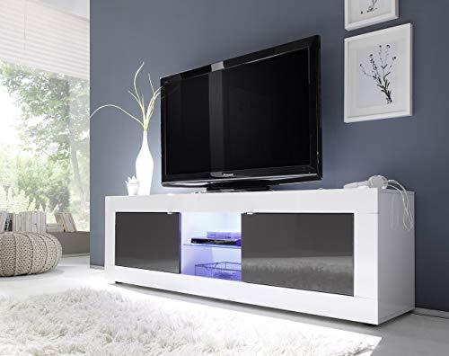 L&C, Basic, Base TV, Bianco (Bianco/Nero), 180 x 42 x 56 cm