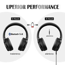 Cascos-Bluetooth-Inalmbrico-Macrourt-Auriculares-Bluetooth-Cerrados-de-Diadema-Plegable-con-Sonido-Estreo-Bluetooth-50-TF-Cancelacin-de-Ruido-Almohadillas-de-Proteccin-Manos-Libres-con-Microfono
