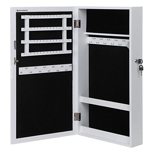 Songmics Hängend Schmuckschrank Wandspiegel zum Hängen mit Tür und Magnetverschluss weiß JBC51W