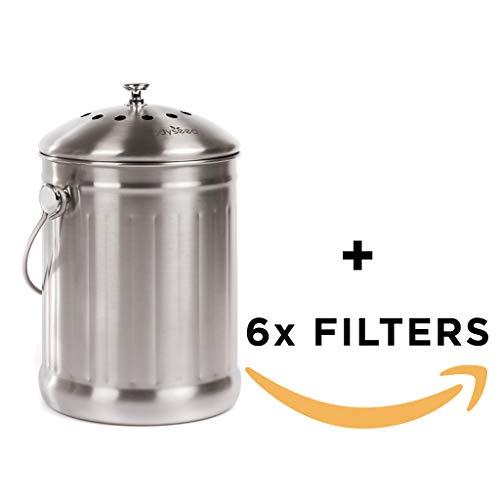 Odyseed Bandeja de Compost | compostador de Cocina en Acero Inoxidable de Gran Capacidad y anticorrosión con | sin Olor y fácil de Limpiar | diseño Elegante Todas Las Cuisines | 18.5x 28cm