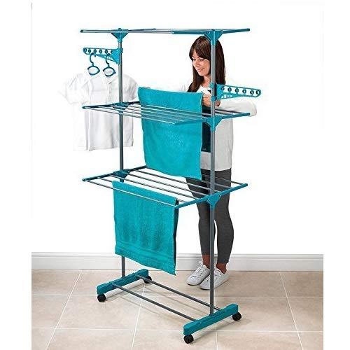 Tivedointv Vertikaler XL-Wäscheständer Maxi CompactKlappbarer und platzsparender Turm-Wäscheständer mit Rollen und 21 klappbaren Stangen, für ein schnelles Trocknen der Wäsche
