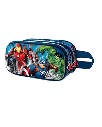 The Avengers Powerful-3D Doppelfedermäppchen Astuccio, Blu, poliestere