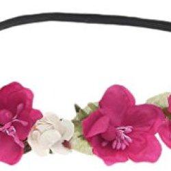 floristikvergleich.de EOZY 10er Pack Damen Mädchen Blumenkranz Blumenkrone Blumenstirnband Haarschmuck (Dunkelrosa)
