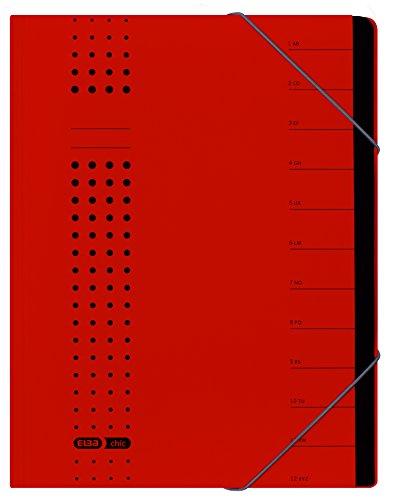 Elba Office Systems 42496RO - Cartellina portadocumenti, in cartoncino riciclato, 450 g/m², formato A4, 12 scomparti, colore: Rosso