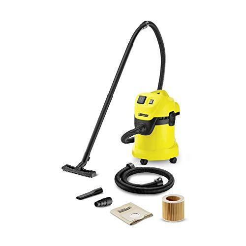 Kärcher WD 3 P - Aspirador en seco y húmedo, 1000 W, 220-240 V, 50/60 Hz, aspiradora de tambor, negro y amarillo
