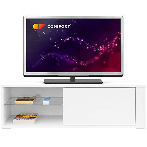 Comifort TV80 Mobile per TV da soggiorno, fattura moderna, colore: bianco, legno di quercia,...