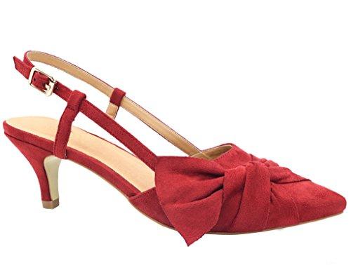 209b07b6944ef4 Greatonu Damen Pumps Kitten Absatz Slingback Pointed Toe Schnalle Sandalen  Rot Größe 40EU