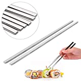 EQLEF® 4 Pairs Solid stainless flat chopsticks Stainless Chopstick Steel Flat chopsticks 23cm