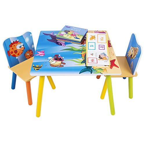 WOLTU SG003 Set Mobili Tavolo e Sedie per Bambini Gioco Tavolino con 2 Sgabelli Soggiorno Design...