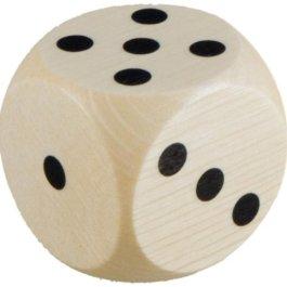 5 dadi, in legno, lunghezza: 30 mm