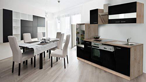 respekta Incasso cucina cucina riga 280cm Rovere sonoma grezzo Front nero con nastro Designer...