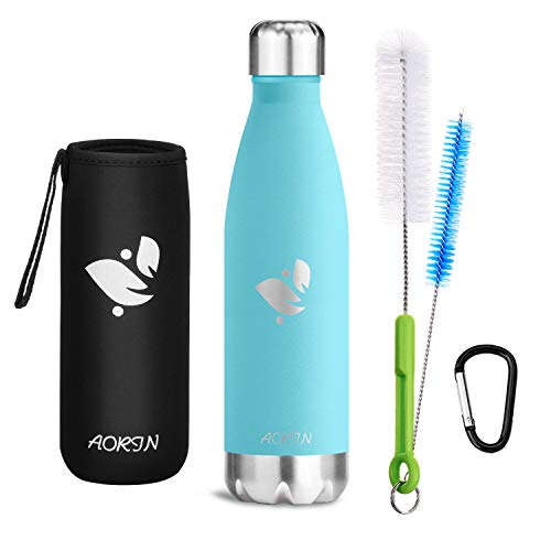 Aorin Vakuum-Isolierte Trinkflasche aus Hochwertigem Edelstahl - 24 Std Kühlen & 12 Std Warmhalten Pulverlackierung Kratzfestigkeit Leicht zu reinigen. (Minze-500ml)
