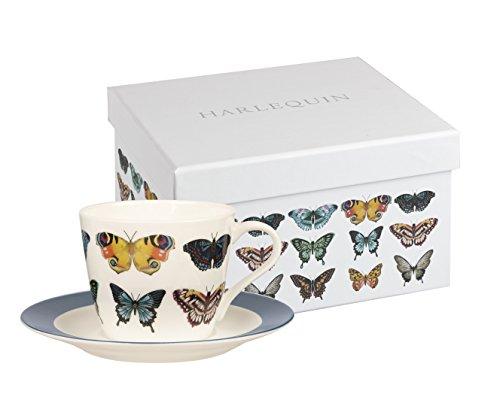 Harlequin Papilio de Arce Taza de té y SCR Caja de Regalo, Porcelana, Multicolor, 19,6x 17x 12cm