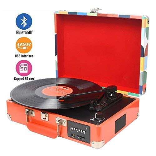 DIGITNOW DIGITNOW Record Player, Turntable Suitcase with Multi-Function Bluetooth/FM Radio/USB and SD Card Port/Vinyl to MP3 Converter