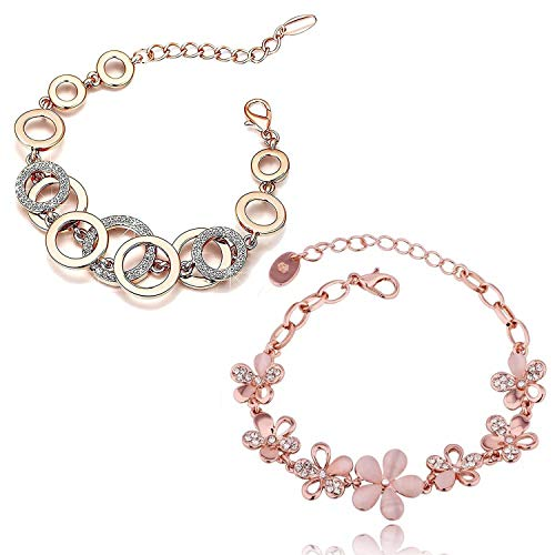 Shining Diva Fashion Collection Gold Plated Charm Bracelet for Women (Rose Gold)(cmb285_8306b_9556b)