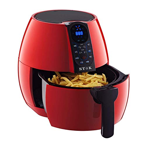 SToK Digital Air Fryer 4 Liter 1500-Watt with Smart Rapid 3D Air Technology with Free Double Layer Grill (Red)