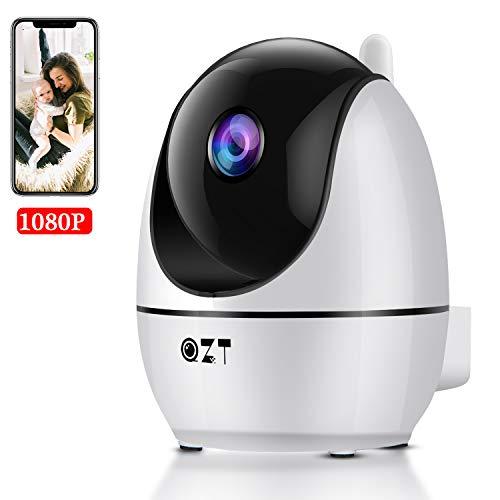 Telecamera Wi-Fi Interno, QZT 1080P FHD Telecamera Sorveglianza WiFi con Rilevazione del Movimento Visione Notturna Audio Bidirezionale, Monitor Domestico di Telecamera IP Wireless per Baby/Pet/Elder