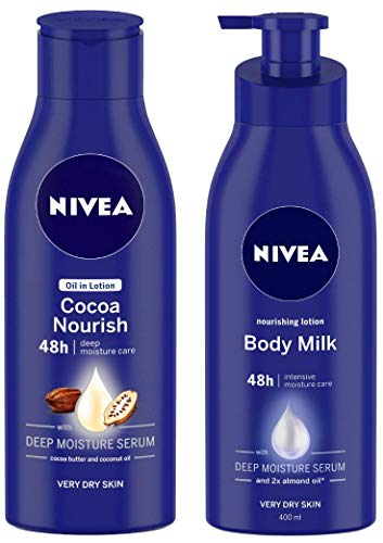 NIVEA Oil in Lotion, Cocoa Nourish, 200ml and Nivea Nourishing Lotion Body Milk with Deep Moisture Serum and 2x Almond Oil for Very Dry Skin, 400m