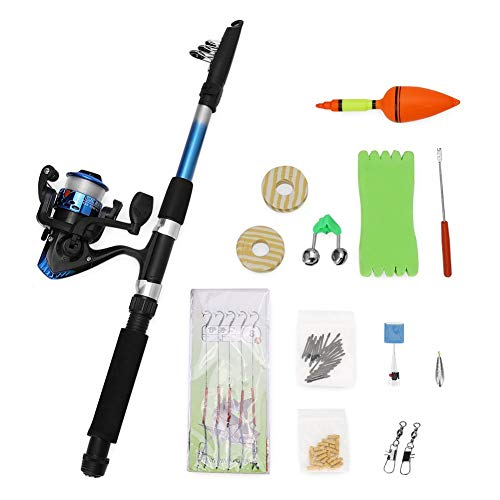 GLOGLOW Kit Completo di canne telescopiche per Pesca e Canna da Pesca, Kit Completo di Accessori per Pesca in Mare