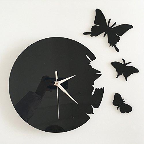 ufengke® 3D Mariposa Acrílico Reloj de Pared Pegatinas de Pared Diseño de Moda Etiquetas del Arte la Decoración del Hogar Creativo Negro