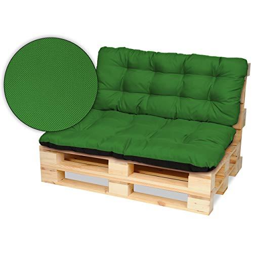 SuperKissen24 Cuscino per Bancale Divano Pallet 120x80 cm con Schienale 120x50 cm Seduta Impermeabile e Comodo per Divanetti da Esterno - Verde