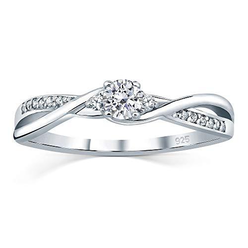 SILVEGO Verlobungsrring mit Swarovski® Zirconia 925 Sterling Silber (60 (19.1))
