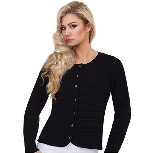 ALMBOCK Trachtenstrickjacke für Damen | gestrickte Trachtenjacke schwarz | Trachten Cardigan Damen mit versilberten Knöpfen - Trachtenjacke 34