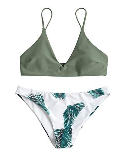 ZAFUL Damen Gepolsterter Bikini Set Bademode Badeanzug mit Blatt Pattern Zweiteilig Grün Medium