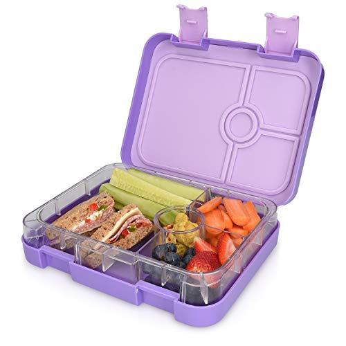 Navaris Lunchbox für Kinder 4 Fächer - Brotdose BPA frei mit Unterteilung Brotbox Dose für Kindergarten Schule - Bento Box in Violett