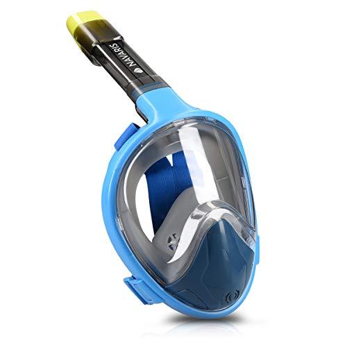 Navaris Maschera da Snorkeling S/M visuale 180° - Maschera Full Face per Immersioni boccaglio Integrato e Supporto GoPro - Adulti Bambini +12 Anni